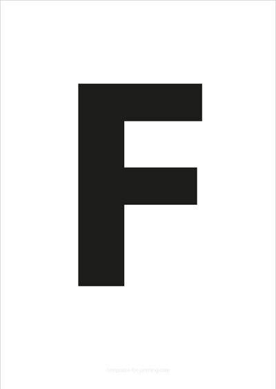 F Capital Letter Black A4