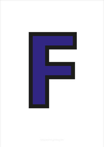 F Capital Letter Blue with black contours