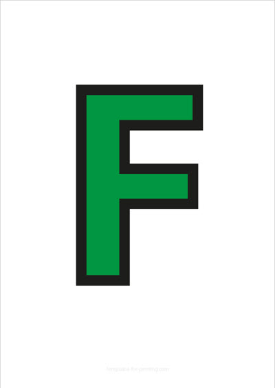 F Capital Letter Green with black contours