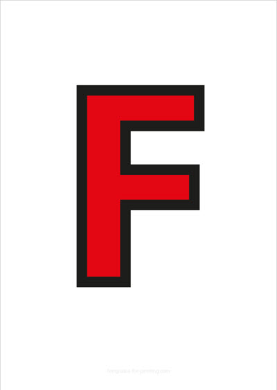 F Capital Letter Red with black contours