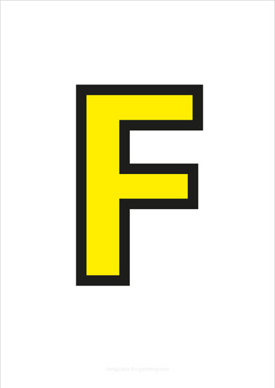 F Capital Letter Yellow with black contours