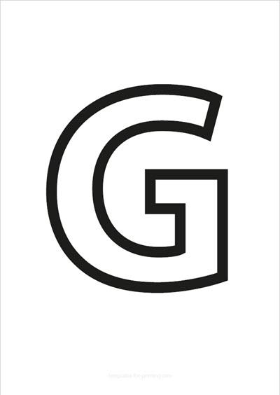 G Capital Letter Black only contours