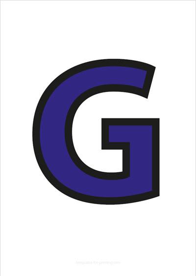 G Capital Letter Blue with black contours