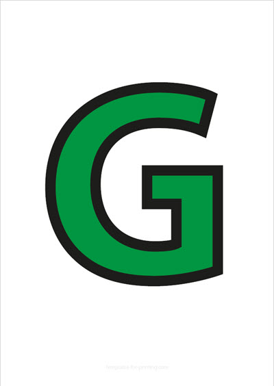 G Capital Letter Green with black contours
