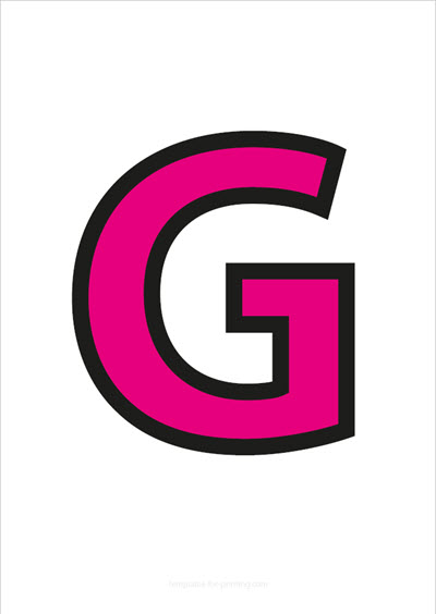 G Capital Letter Pink with black contours