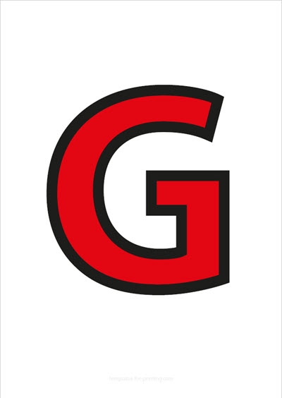G Capital Letter Red with black contours