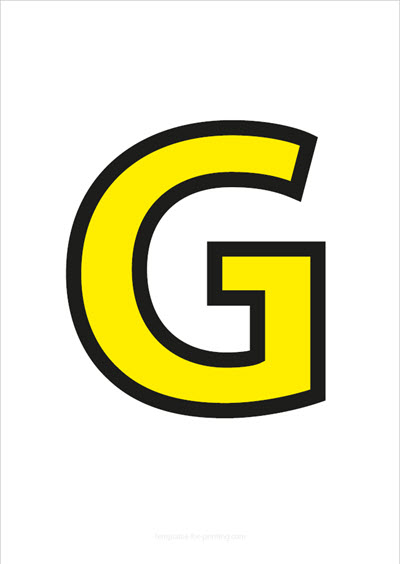 G Capital Letter Yellow with black contours