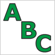 Green Capital letters with black contours