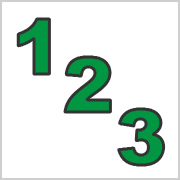 Green numbers with black contours
