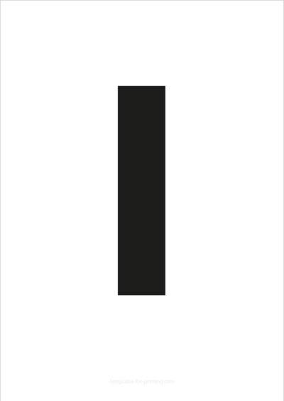 I Capital Letter Black A4
