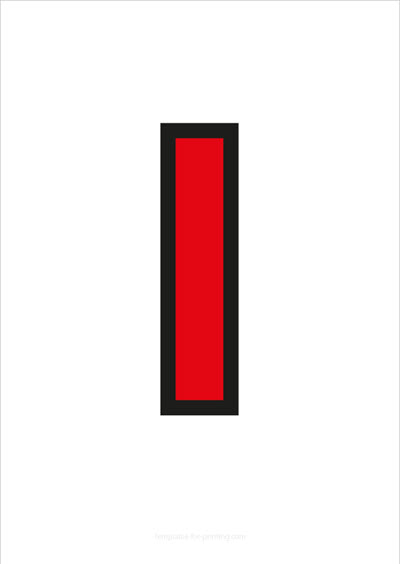 I Capital Letter Red with black contours