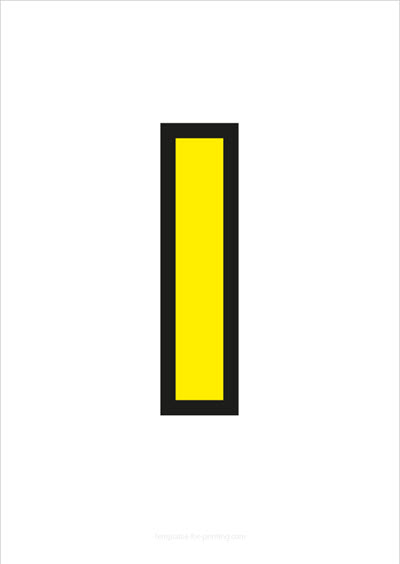 I Capital Letter Yellow with black contours