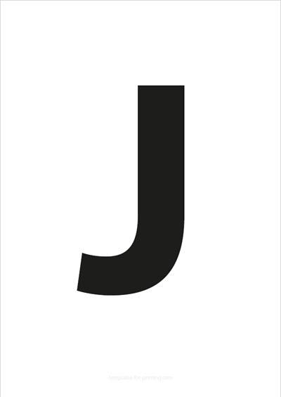 J Capital Letter Black A4