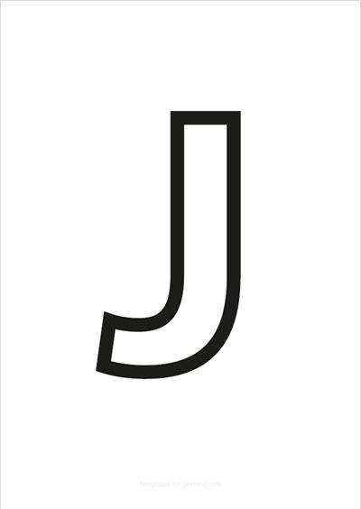 J Capital Letter Black only contours