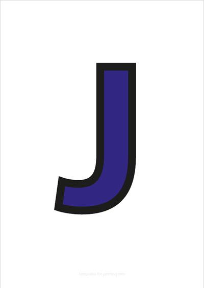J Capital Letter Blue with black contours