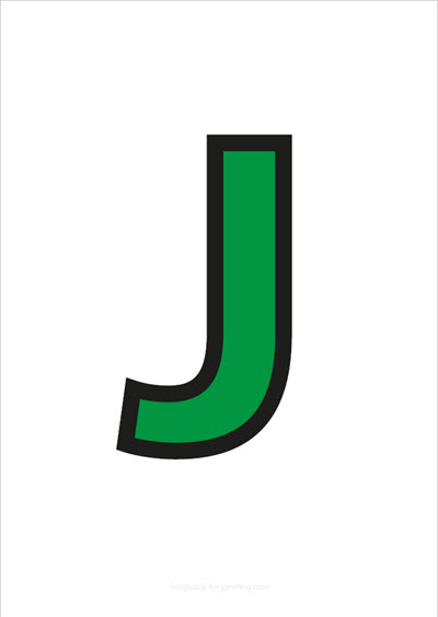 J Capital Letter Green with black contours