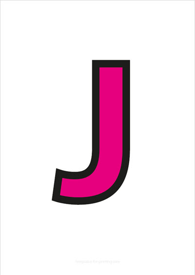 J Capital Letter Pink with black contours