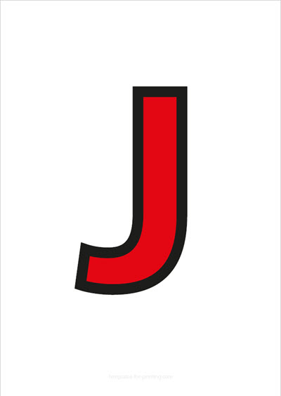 J Capital Letter Red with black contours