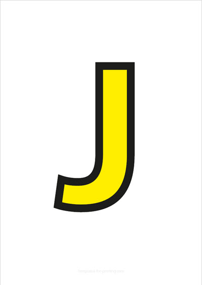 J Capital Letter Yellow with black contours