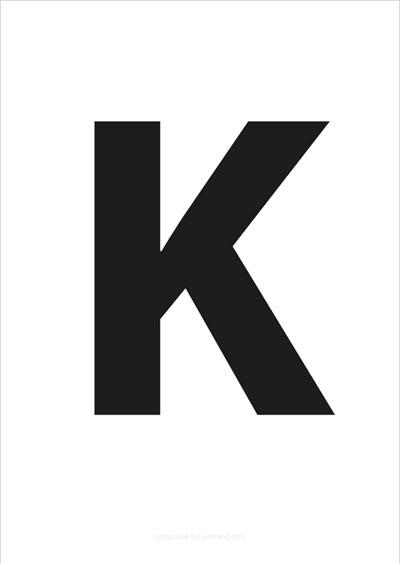 K Capital Letter Black A4