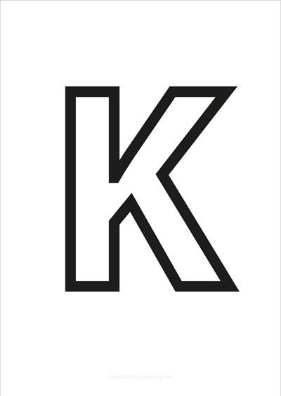K Capital Letter Black only contours