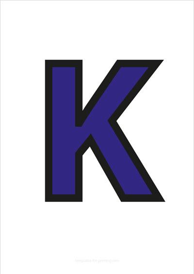 K Capital Letter Blue with black contours