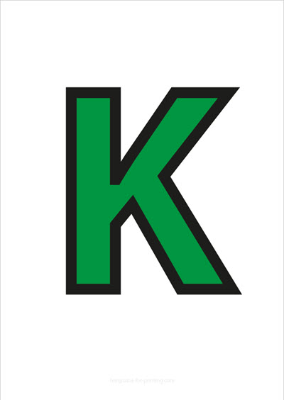 K Capital Letter Green with black contours