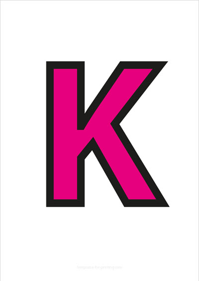 K Capital Letter Pink with black contours