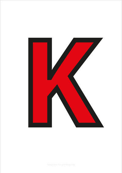 K Capital Letter Red with black contours