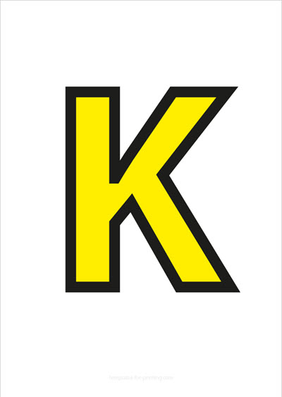 K Capital Letter Yellow with black contours