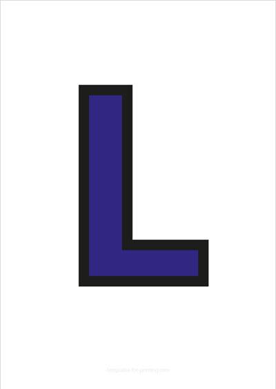 L Capital Letter Blue with black contours