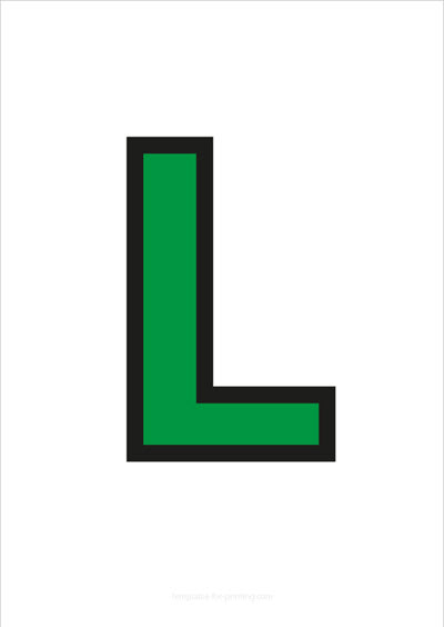 L Capital Letter Green with black contours
