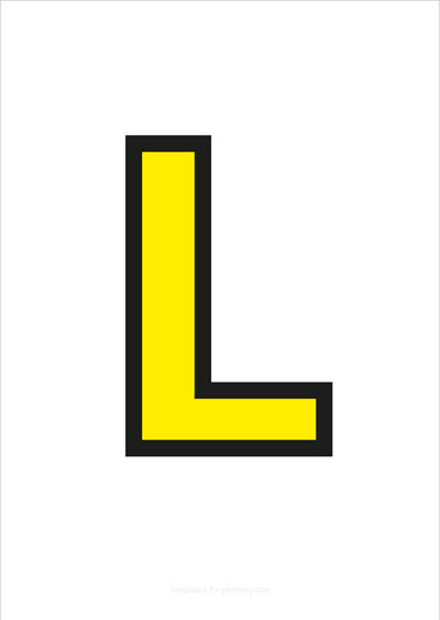 L Capital Letter Yellow with black contours