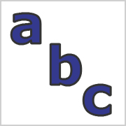 Lower Case Letters Blue with black contours