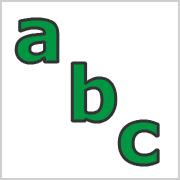 Lower Case Letters Green with black contours