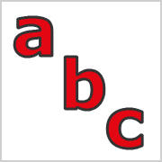 Lower Case Letters Red with black contours