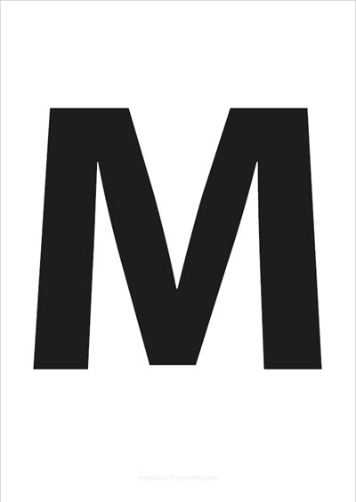 M Capital Letter Black A4