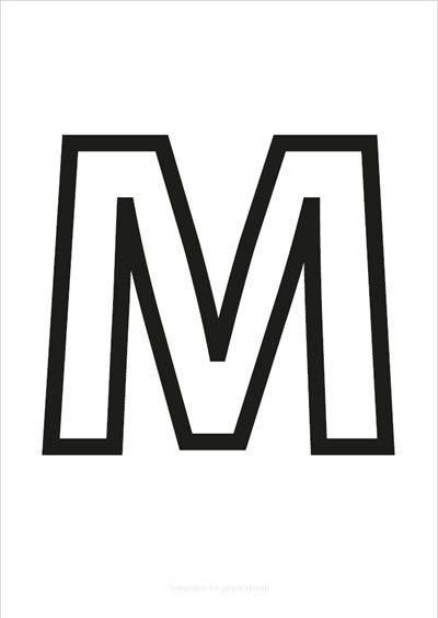 M Capital Letter Black only contours