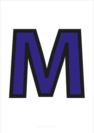 M Capital Letter Blue with black contours