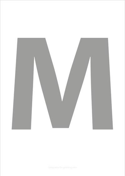 M Capital Letter Gray