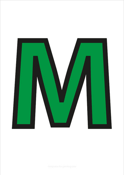 M Capital Letter Green with black contours
