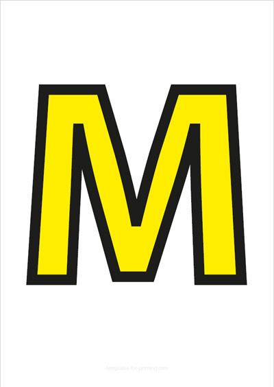 M Capital Letter Yellow with black contours