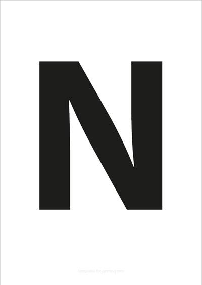 N Capital Letter Black A4