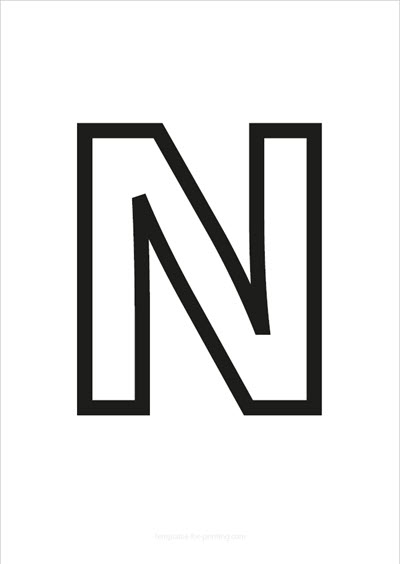 N Capital Letter Black only contours