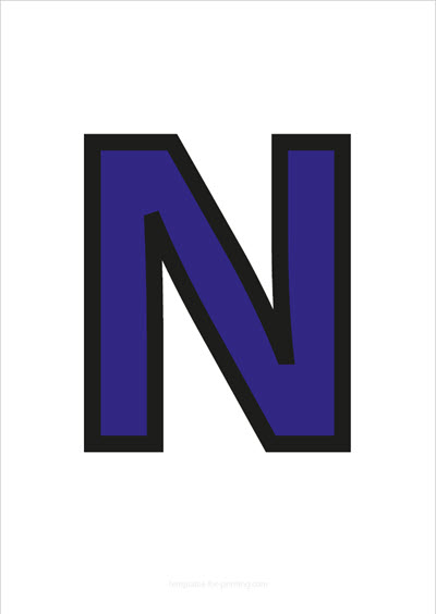 N Capital Letter Blue with black contours
