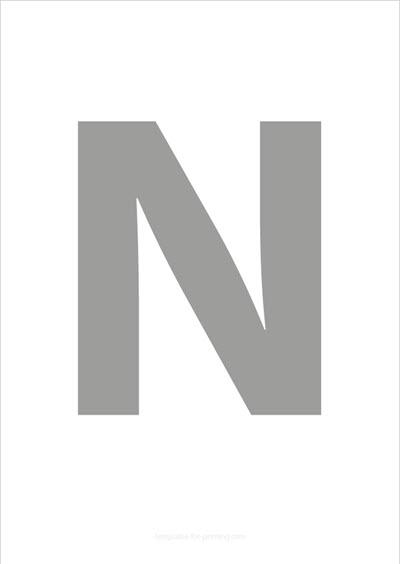 N Capital Letter Gray