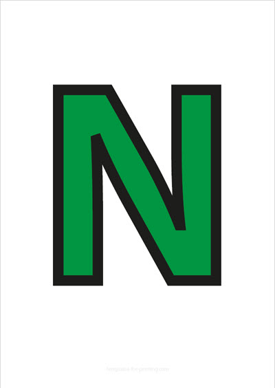 N Capital Letter Green with black contours