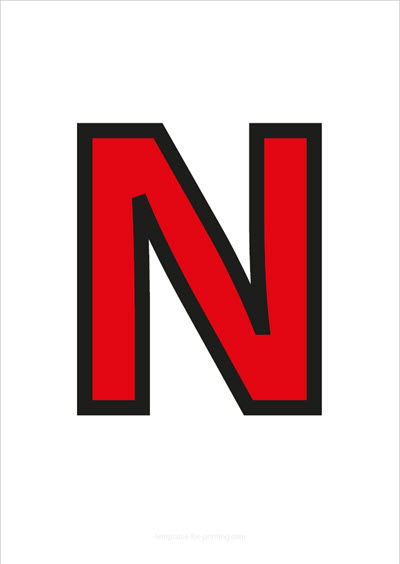 N Capital Letter Red with black contours