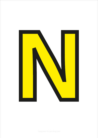 N Capital Letter Yellow with black contours