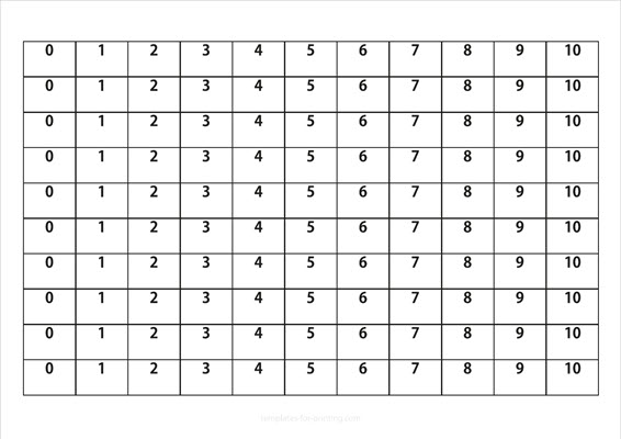 Numbers to learn 0-10 black